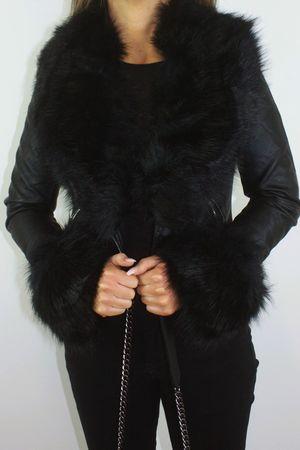 SASHA Black Faux Fur Biker Jacket