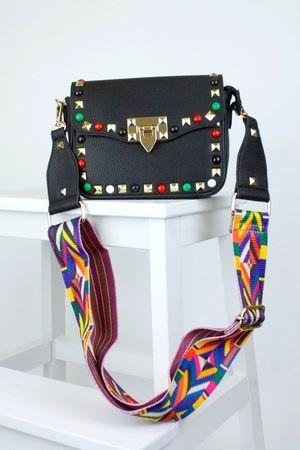 GABRIELLA Black Stud Cross Body Bag