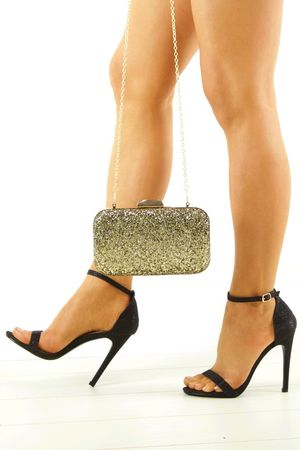 SAVANNAH Black Glitter Barely There Heels