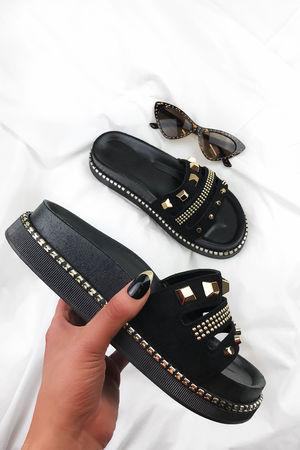PELLA Black Stud Sliders With Gold Detail