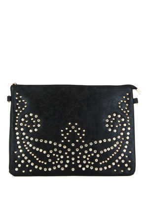 CLAUDINE Black Stud Jewel Clutch Bag