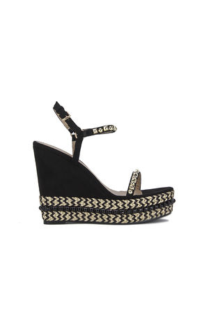 SAHRA Black Espadrille Wedge With Gold Detail