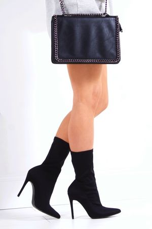 IMOGEN Black Stiletto Sock Boot