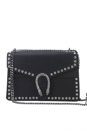 MELANIE Black Jewel Shoulder Bag
