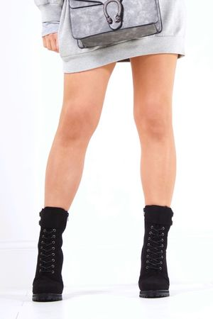 CLEO Black Lace Up Block Heel Boots