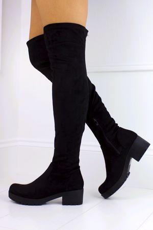KIMORA Black Over The Knee Chunky Boot