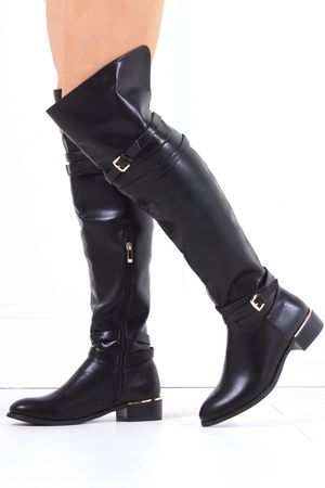 KRISTINA Black Faux Leather Riding Boot