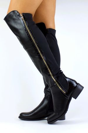 KYLIE Black Faux Leather Over Knee Boot