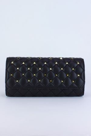 LAILA Black Quilted Stud Clutch Bag