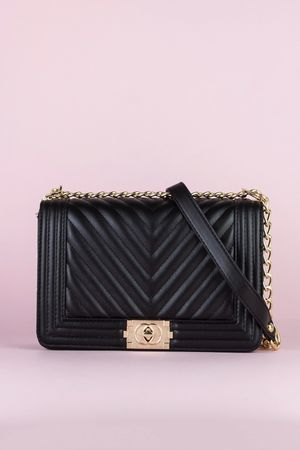 MOLLY Black Quilted Chain Shoulder Bag With Gold Detail