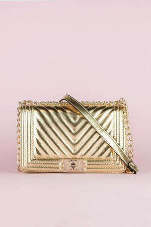 MOLLY Gold Quilted Chain Shoulder Bag With Gold Detail