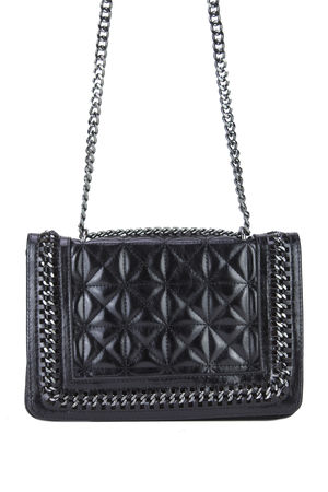 CLAUDINE Black Quilted Chain Bag