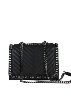 EVE Black Quilted Chain Cross Body Bag