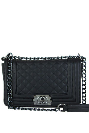 CHER Black Quilted Cross Body Shoulder Bag