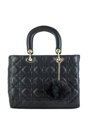 LENA Black Quilted Shopper Bag