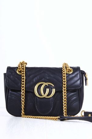 MARNIE Black Quilted Emblem Shoulder Bag