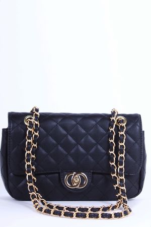 LILLY Black Quilted Chain Bag