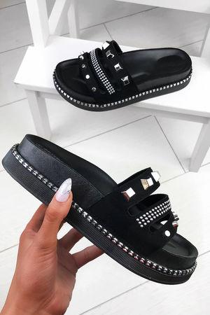 PELLA Black Stud Sliders With Silver Detail