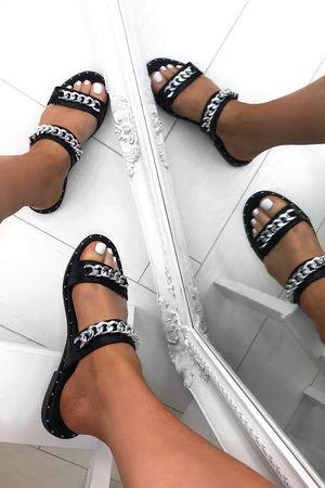 HEIDI Black Chain Slider Sandals With Stud Detail