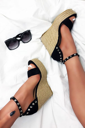 SELMA Black Stud Wedges With Silver Detail