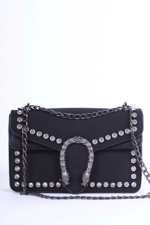 MICA Black Snake Jewel Shoulder Bag