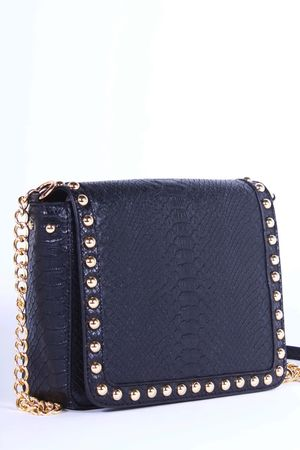 LUCILLE Black Stud Faux Leather Shoulder Bag