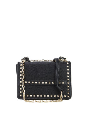 LILA Black Snake Chain Shoulder Bag