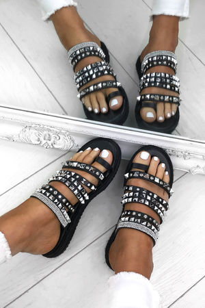 KHLOE Black Strappy Diamante Espadrille Sandals