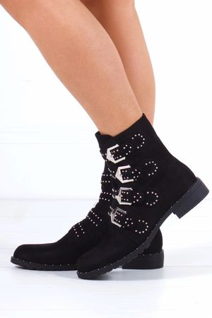 CHLOE Black Faux Suede Biker Boot