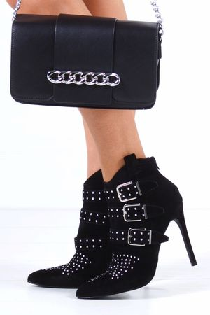 BROOKLYN Black Buckle Ankle Boot