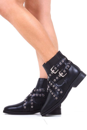 LAURA Black Flat Cut Out Stud Ankle Boot