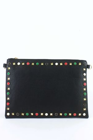 FREYA Black Stud Clutch Bag