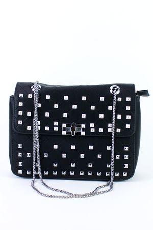 CLARA Black Stud Shoulder Bag