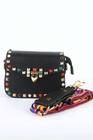 MAYA Black Stud Shoulder Bag