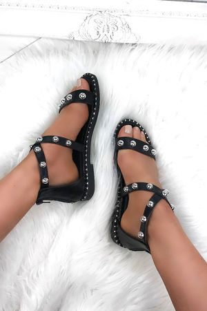 ATHENA Black Stud Sandals With Silver Detail