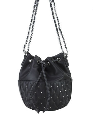 RHEA Black Stud Bucket Bag
