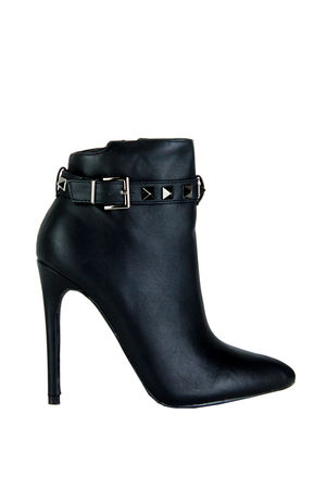 CHARLOTTE Black Stud Ankle Boot