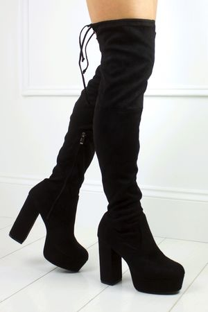 LEXY Black Platform Over Knee Boot
