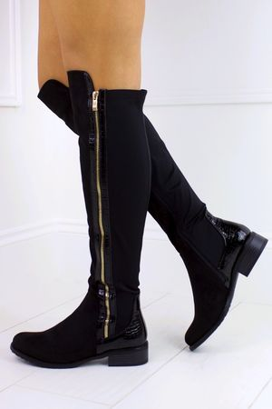KYLIE Black Faux Suede Over Knee Boot