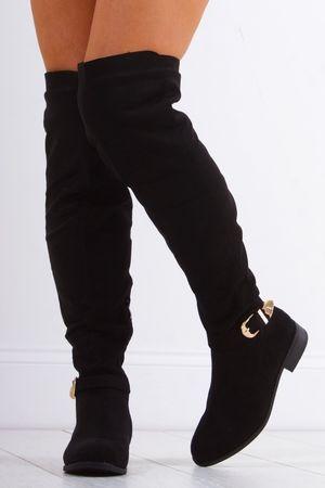MALIKA Black Western Over Knee Boot