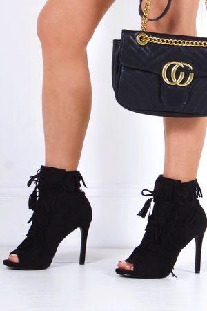 GISELLE Black Fringed Peep Toe Boots