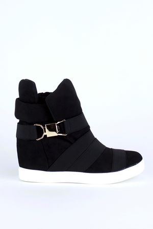 ALEXIA Black Wedge Sneakers With Gold Detail
