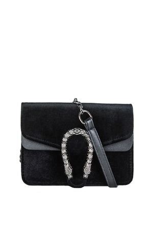 HEIDI Black Tiger Shoulder Bag With Chain Strap
