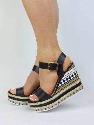CALLY Black Metallic Espadrille Wedge