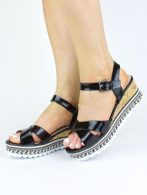 MORGAN Black Metallic Braided Sandal