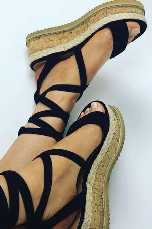 INDIGO Black Wrap Up Espadrille Flatform Sandals