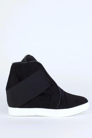 CARA Black Strap Wedge Sneakers