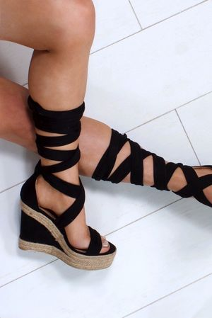 HARMONY Black Espadrille Wrap Up Wedges