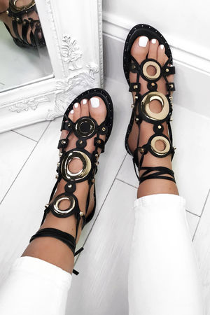 CASSIDY Black Gladiator Sandals With Gold Detail