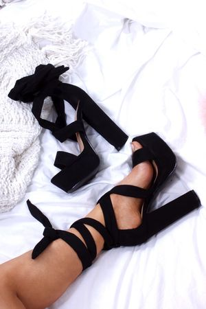 SHELBY Black Wrap Up Platform Heels